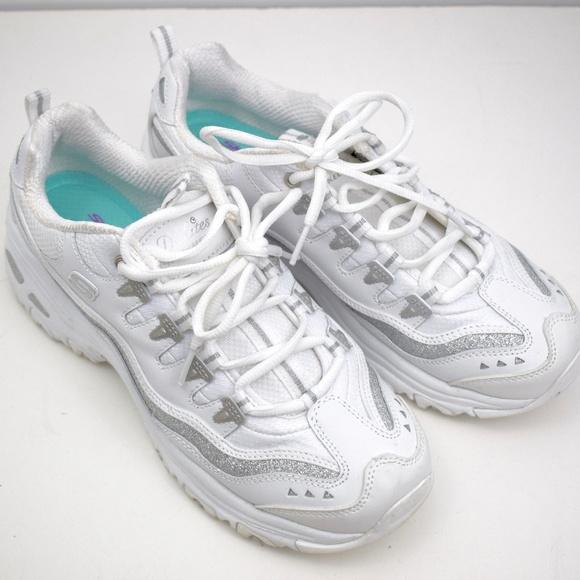 white sparkly skechers